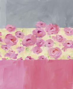 Elegante dipinto con fiori rosa e decoro grafico