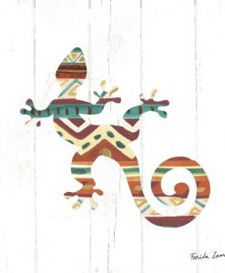 Silhouette di un geco con motivo etnico americano