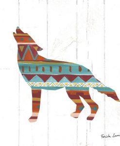 Silhouette di un lupo con motivo etnico americano