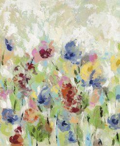 Dipinto di un giardino fiorito con fiori colorati