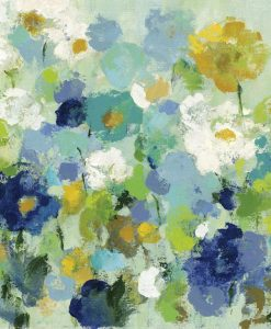 Dipinto astratto di un giardino con fiori blu e bianchi