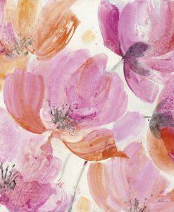 Vivace acquerello di fiori con petali dalle sfumature rosa e arancio