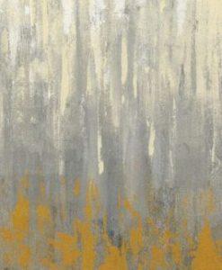 Dipinto astratto con pennellate verticali grigie e arancio