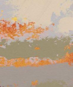 Dipinto astratto dai toni caldi e pennellate arancioni