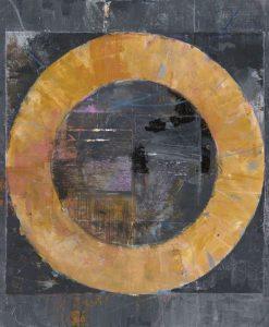 Dipinto con un cerchio arancio su sfondo grigio scuro