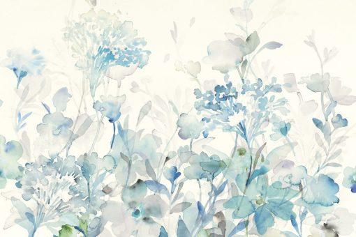 Fiori da giardino azzurri e grigi su sfondo bianco