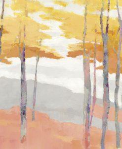 Dipinto astratto di un bosco dai colori delicati