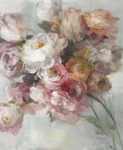 Dipinto sfumato di un mazzo di fiori rosa e bianchi