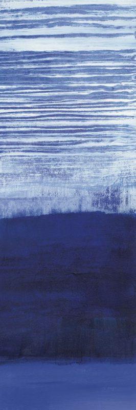 Dipinto astratto con pennellate orizzontali dai toni blu