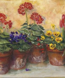 Dipinto di un gruppo di vasi di fiori