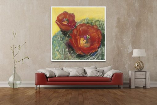 Dipinto di fiori di cactus rossi