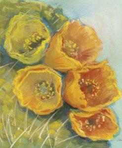 Dipinto di fiori di cactus gialli