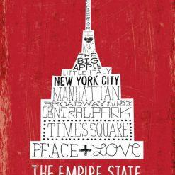 Composizione grafica con scritte e disegno a tema New York