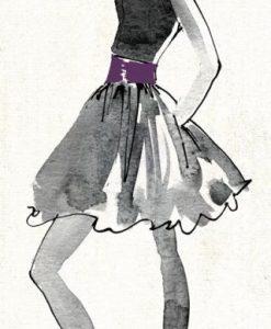 Schizzo di una modella con vestito nero e viola