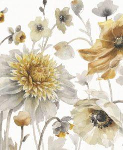 Luminoso acquerello con fiori di campo dorati