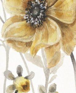 Luminoso acquerello con fiore di campo dorato