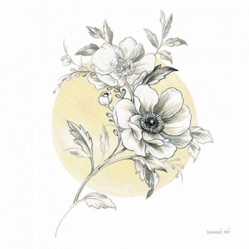 Disegno di fiori bianco e nero in stile moderno