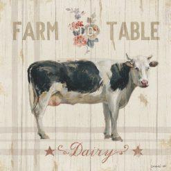Illustrazione su legno di una mucca con messaggio