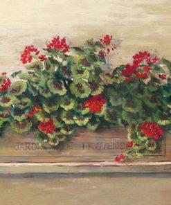 Piantina fiorita in una cassetta in legno