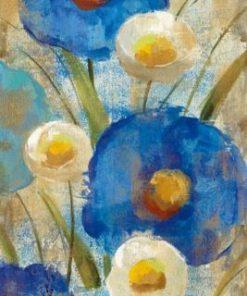 Dipinto di fiori di campo blu e bianchi