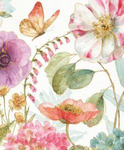 Acquerello di fiori di campo con dettagli oro
