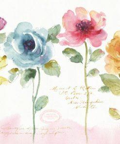 Acquerello con vari fiori multicolore