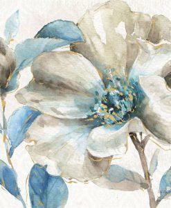 Fiore di magnolia con sfumature azzurre e dettagli dorati