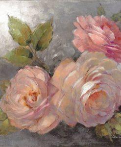 Rose color rosa su sfondo grigio