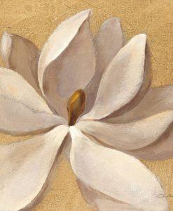 Fiore bianco su sfondo oro con effetto sfocato