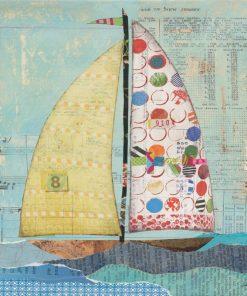 Dipinto con barca a vela e ritagli di giornale