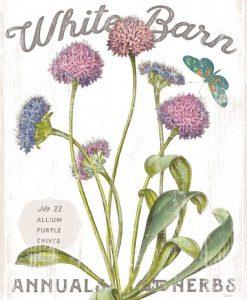 Composizione in stile botanico con fiori viola