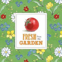 Vivace cornice floreale e pomodoro in stile fumetto