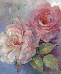 Rose color rosa su sfondo blu
