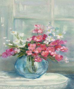 Dipinto luminoso di un mazzo di fiori rosa in vaso