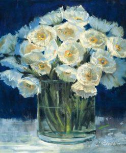 Dipinto di un mazzo di fiori bianchi in vaso con tonalità crepuscolari