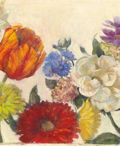 Dipinto di una composizione con diversi fiori multicolore