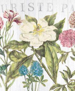 Composizione con vari fiori in stile stampa su legno