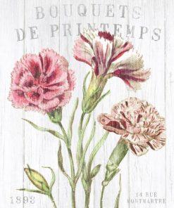 Composizione in stile botanico con fiori magenta e bianchi