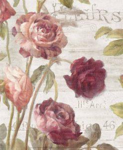 Dettaglio di rose rosse e rosa dipinte su un pannello con effetto legno
