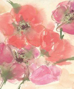 Acquerello con fiori di campo dalle tonalità rosate