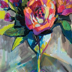 Dipinto astratto di fiori in un bicchiere di vino