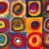 Dipinto con cerchi concentrici di vari colori