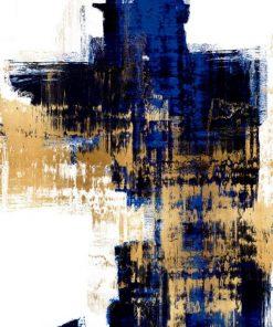 Dipinto astratto con sfumature di colore blu e oro