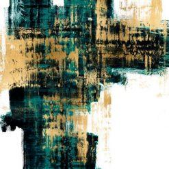 Dipinto astratto con sfumature di colore verde acqua e oro