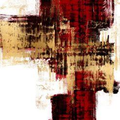 Dipinto astratto con sfumature di colore rosso e oro